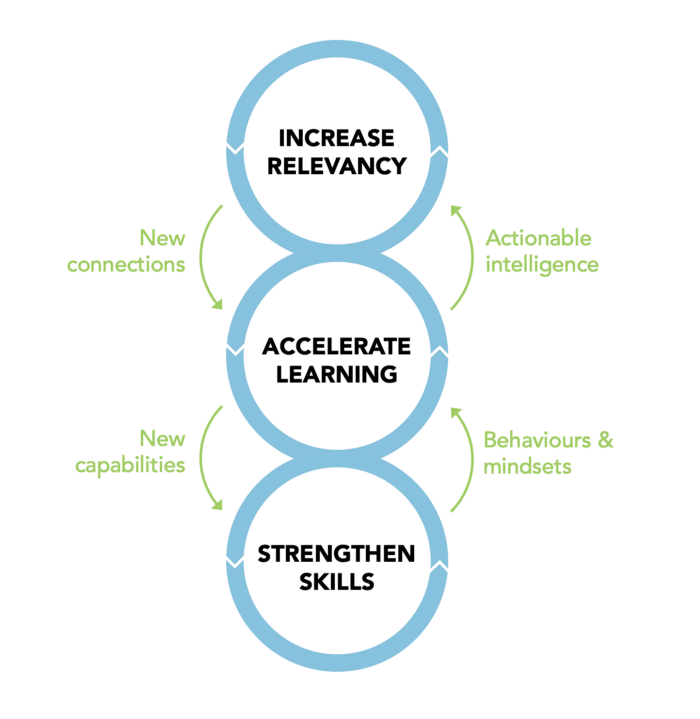 Diagram with the sections 'increase relevancy', 'accelerate learning' and 'strengthen skills'