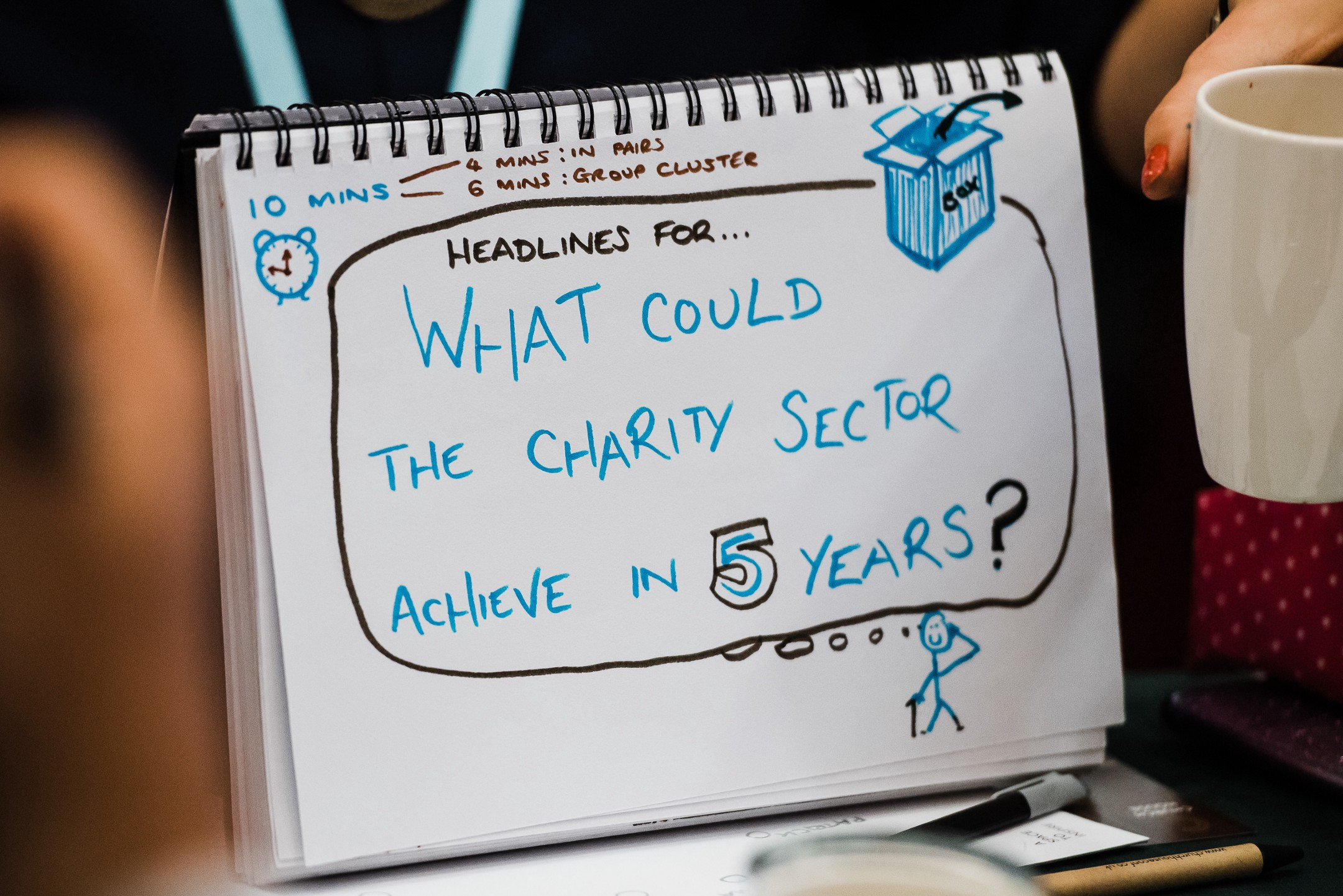 Notepad with handwritten text saying 'What could the charity sector achieve in five years?'
