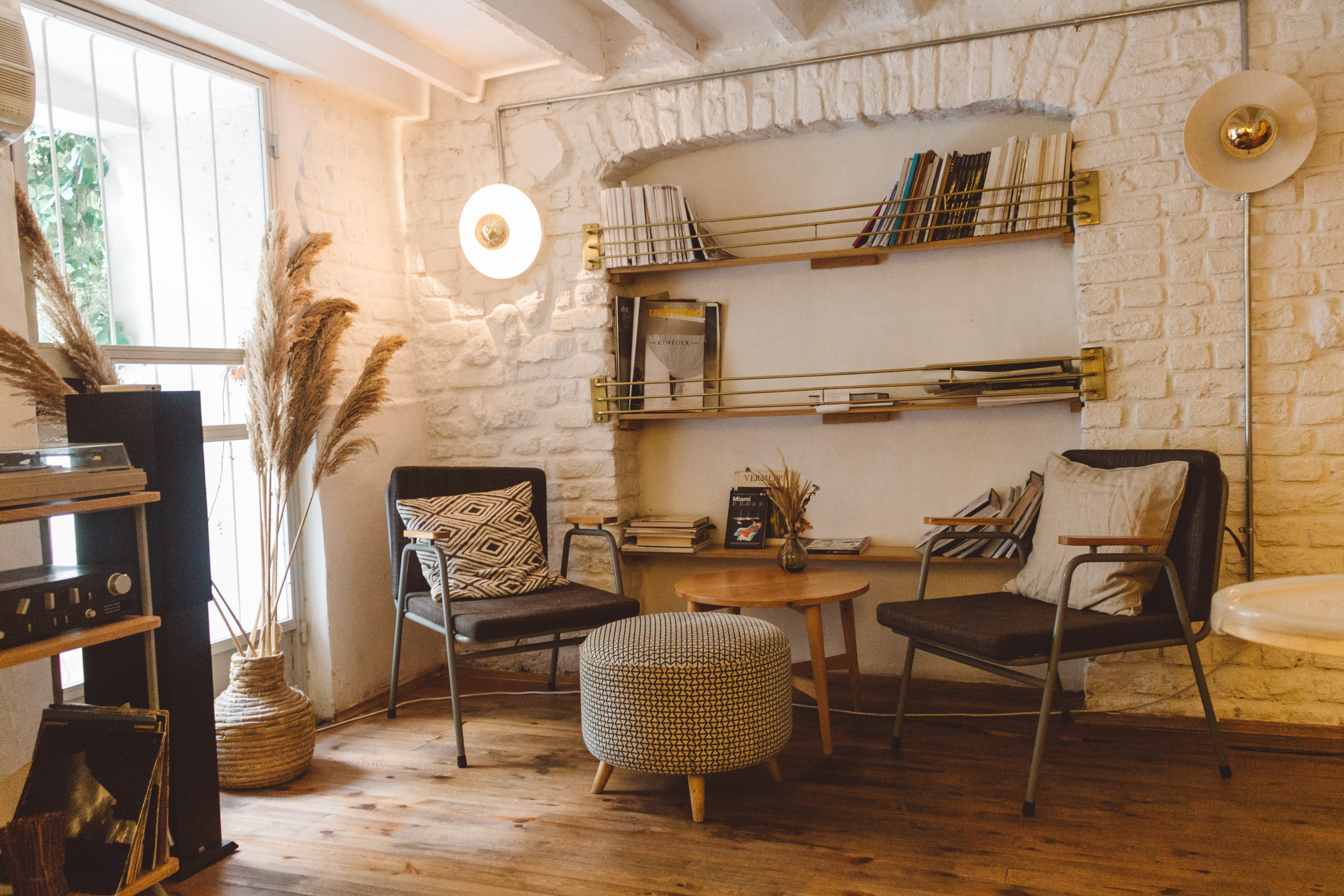 Sitting area in an up-cycled office space.