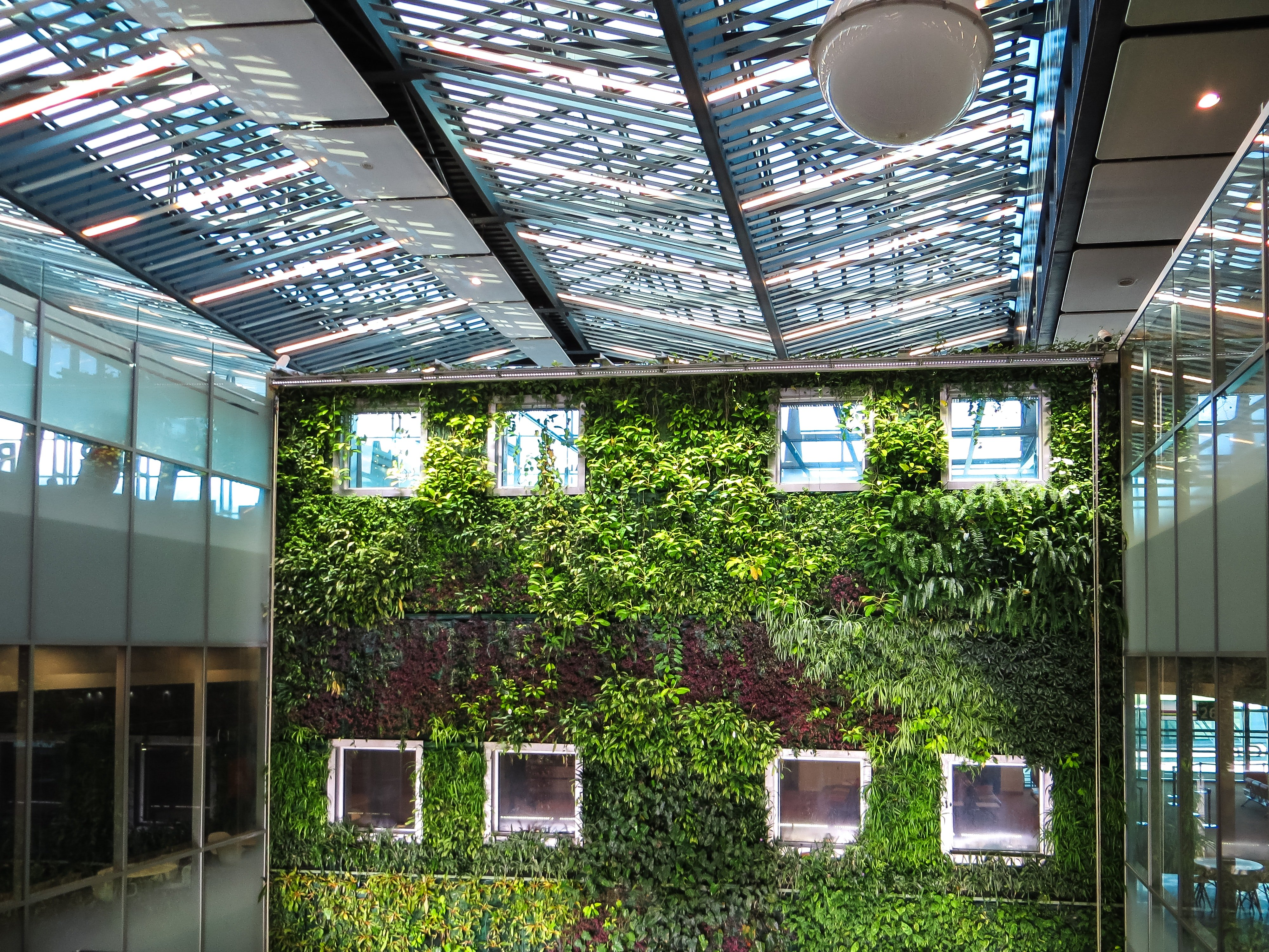 Office building with a live plant wall.