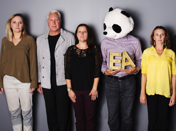 Roy (in the panda head) is a manager that provides his team with plenty of room to take risks.