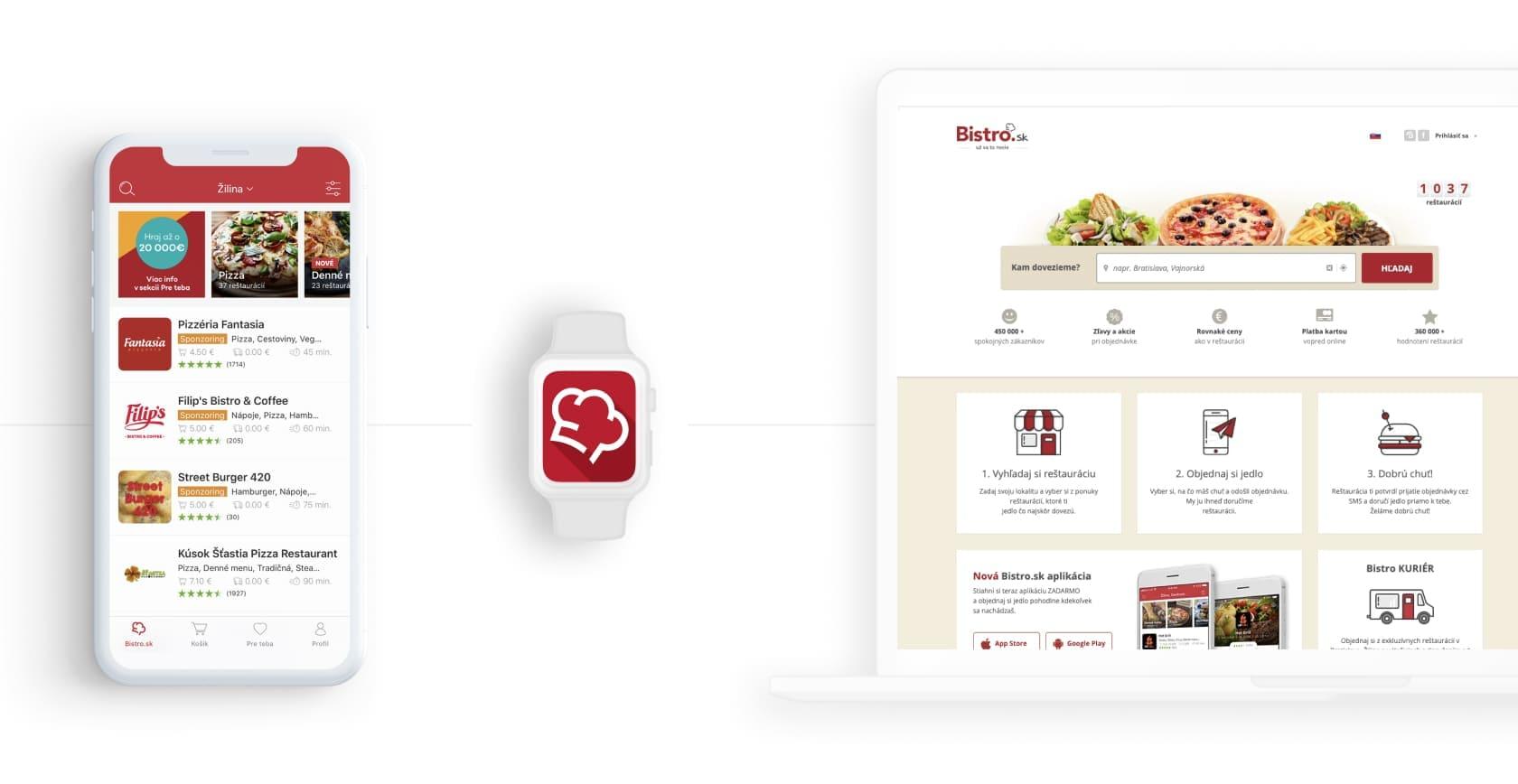 webová a mobilná aplikácia pre donášku jedla bistro.sk