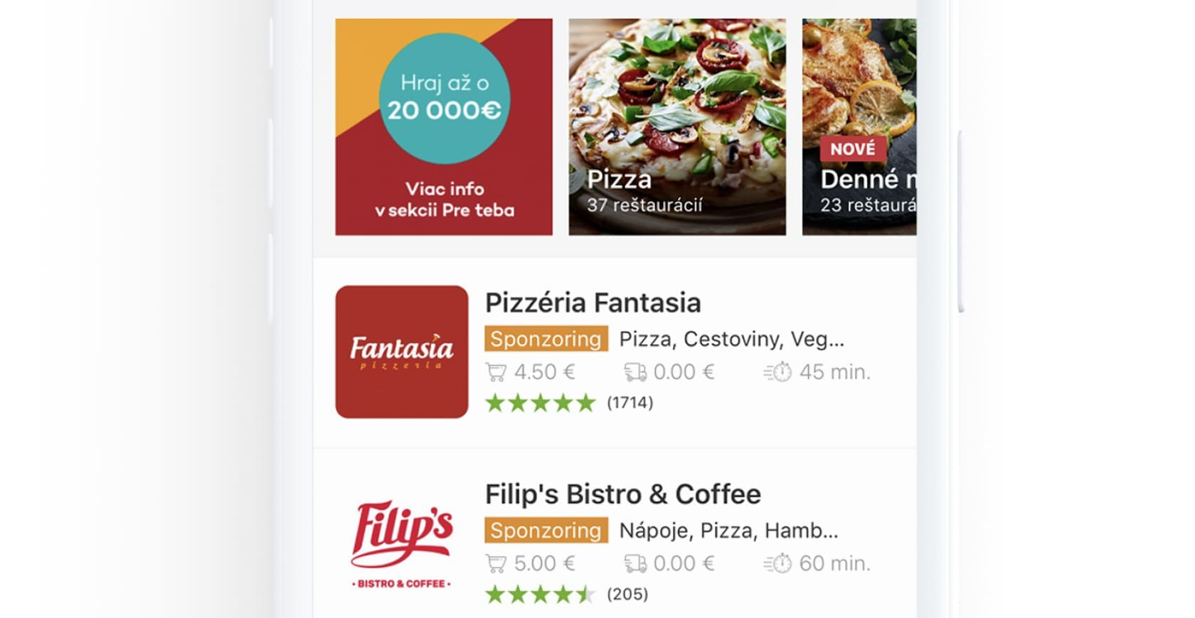 food delivery application interface for bistro.sk available on ios and anadroid platforms