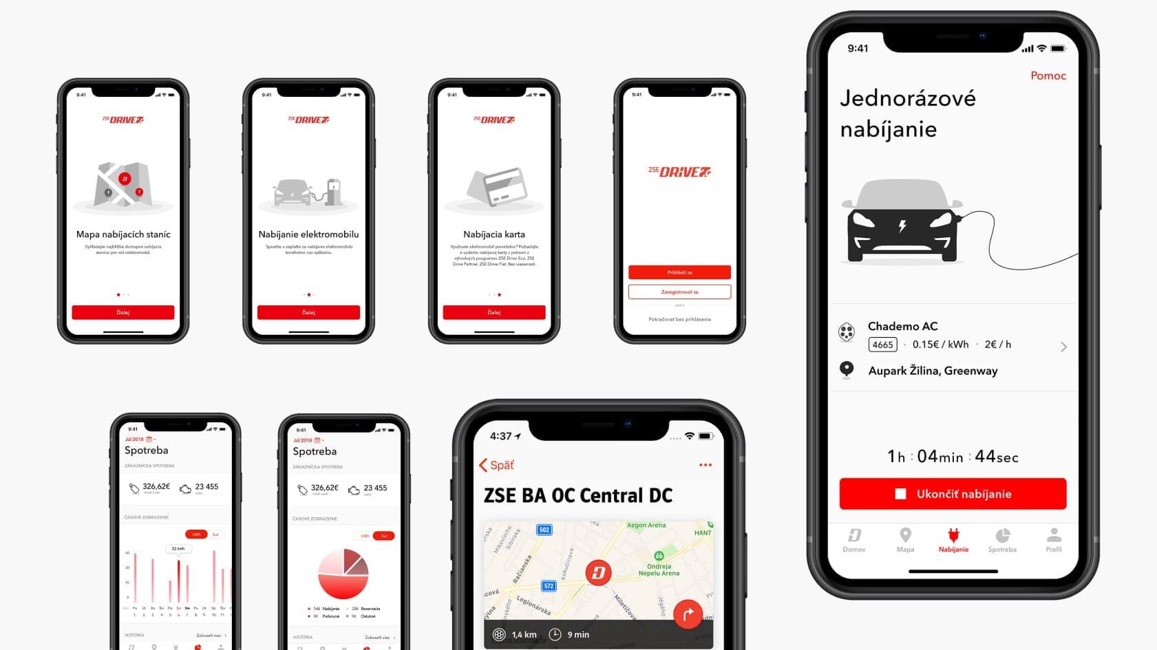 UX UI design for e mobility app