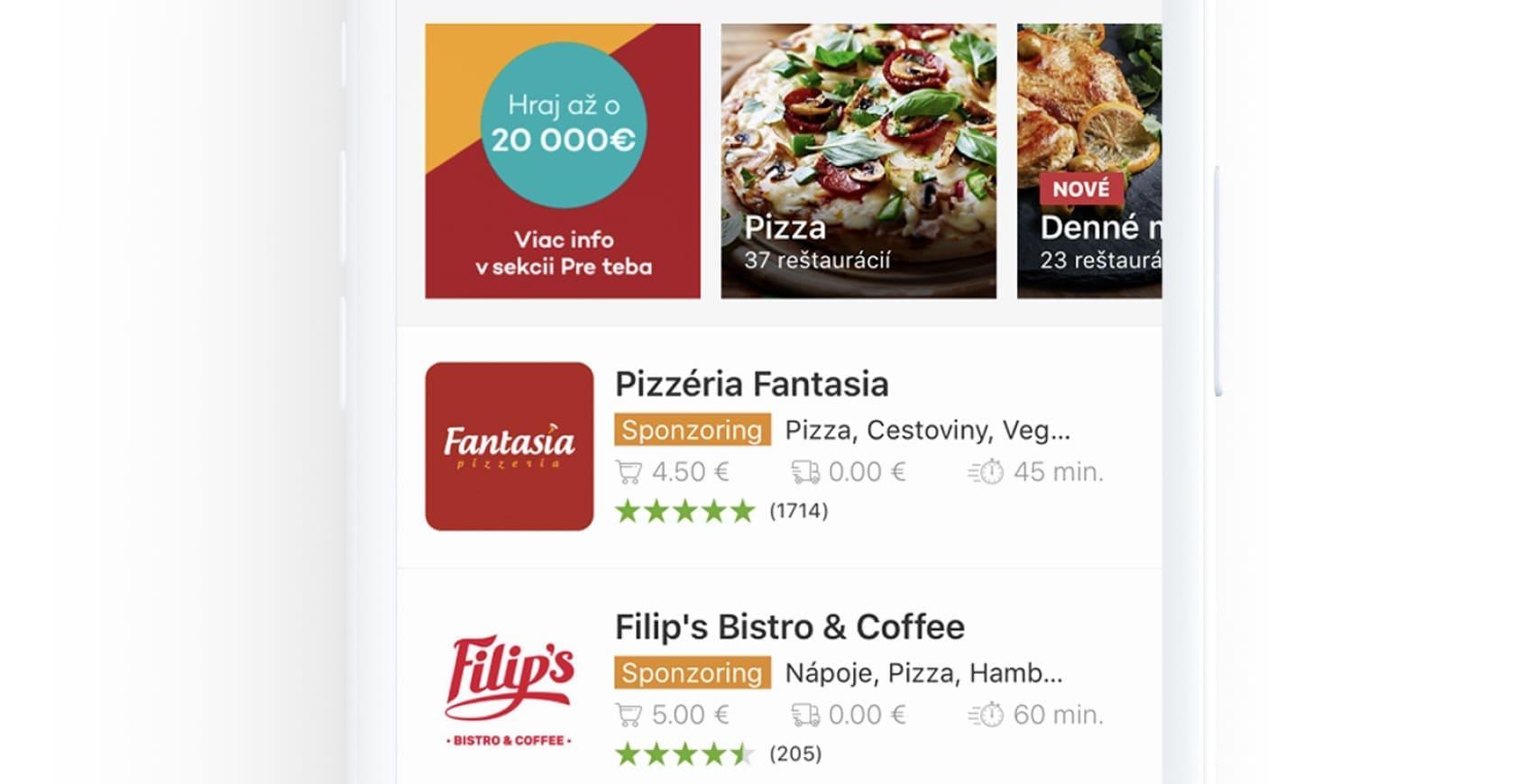 Vyvoj modernej mobilnej aplikacie pre donasku jedla s velkym poctom funkionalit, ako hodnotenie, čas doručenia, cena dovozu