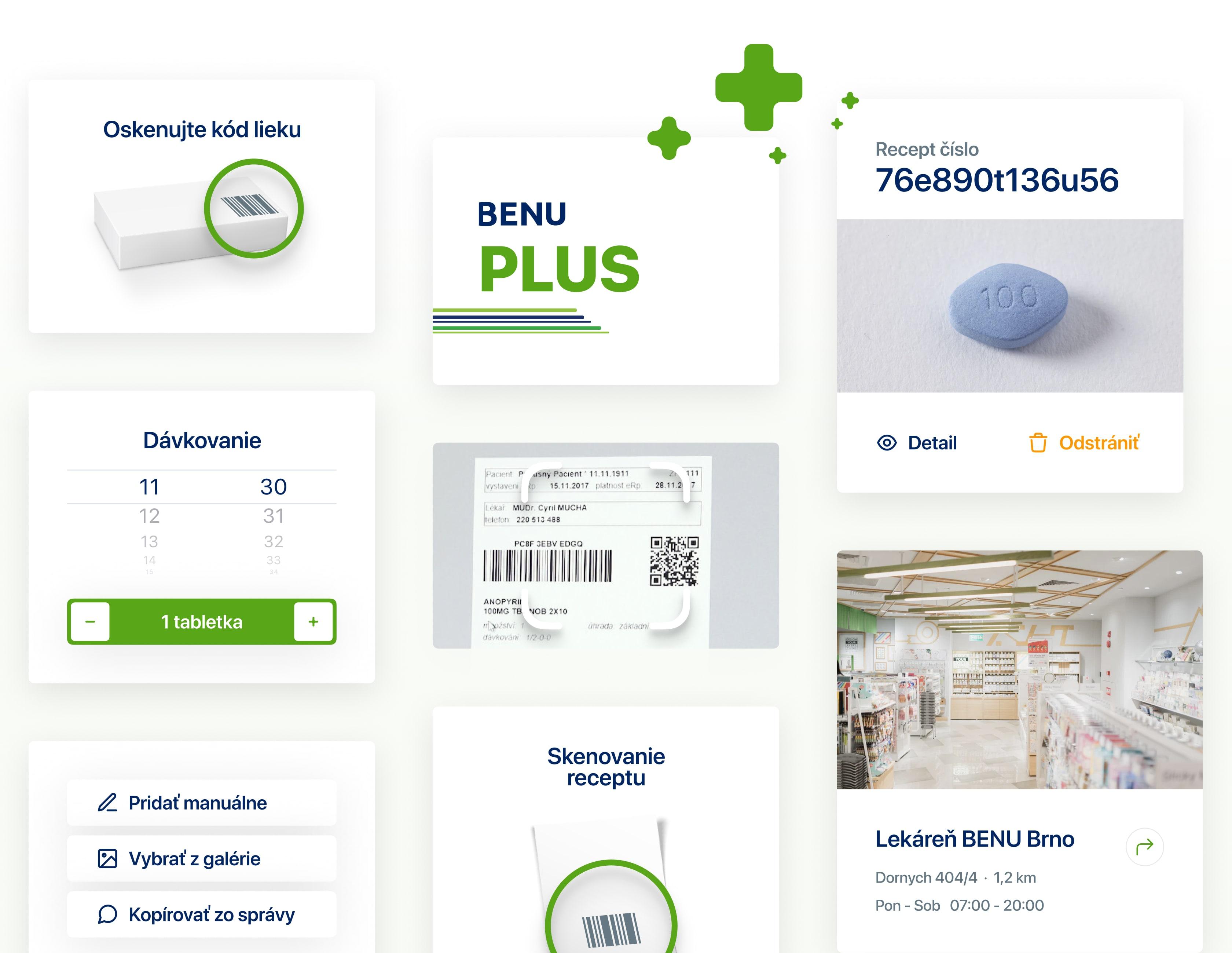 Dizajn natívnej mobilnej aplikácie so širokou škálou funkcií, ako dávkovanie, skenovanie receptu alebo kódu lieku.