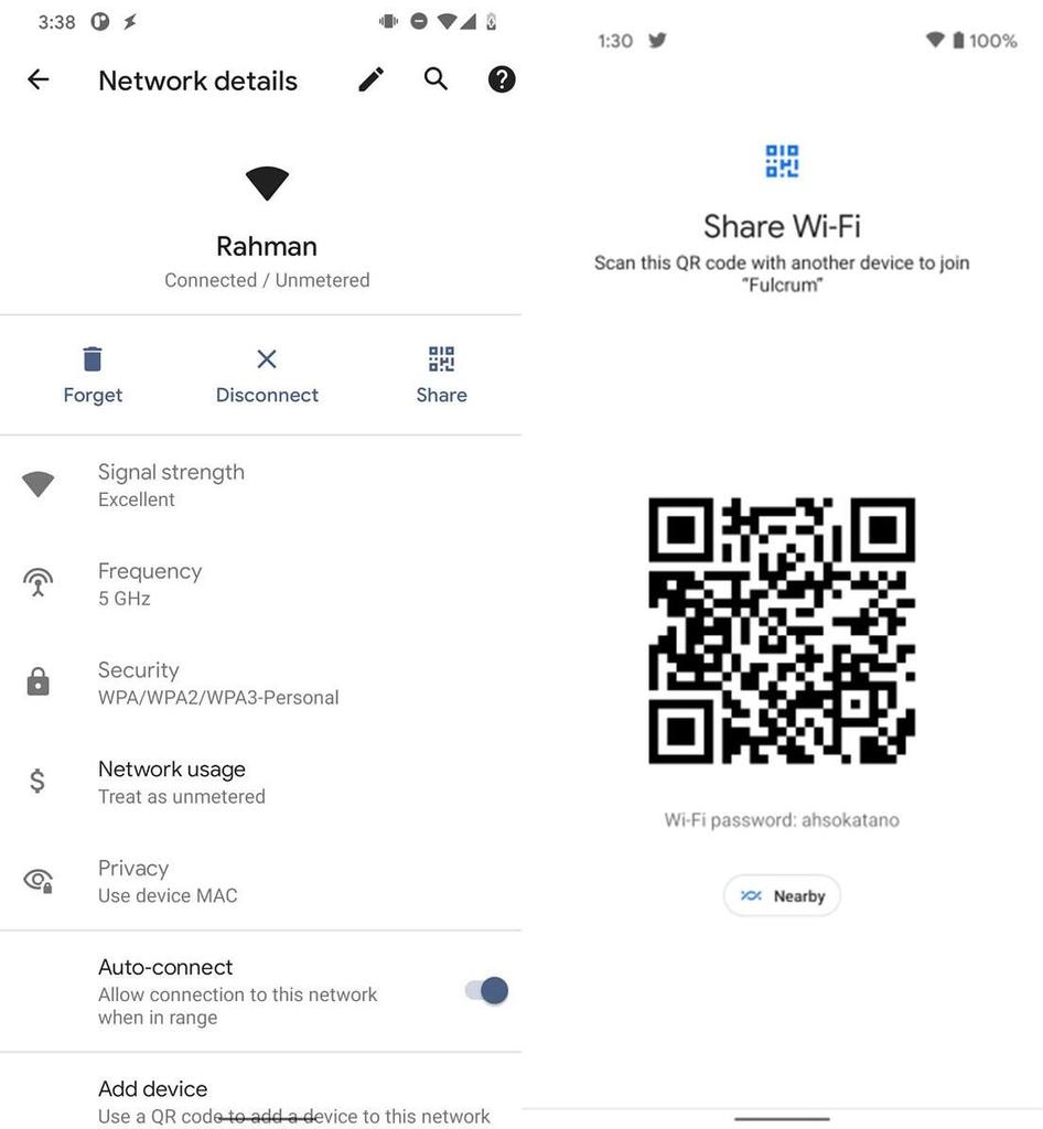 New wifi feature allow us to share passwords stored on the device to the other WiFi access points using a QR code, or via Nearby Share