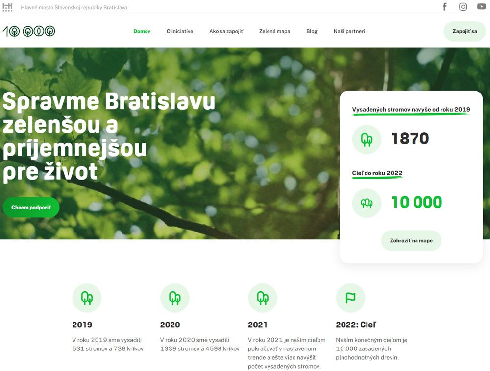 Webové rozhranie stránky 10 tisíc stromov