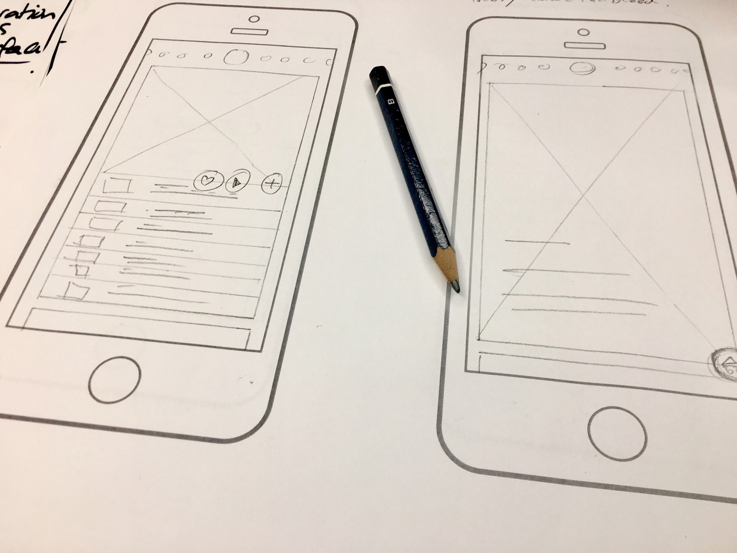 User interface design of the mobile app