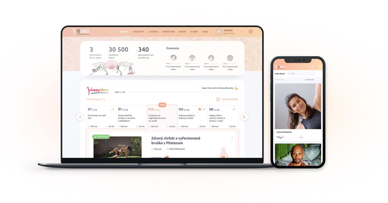 Užívateľské rozhranie novej web stránky FitShaker s UX dizajnom