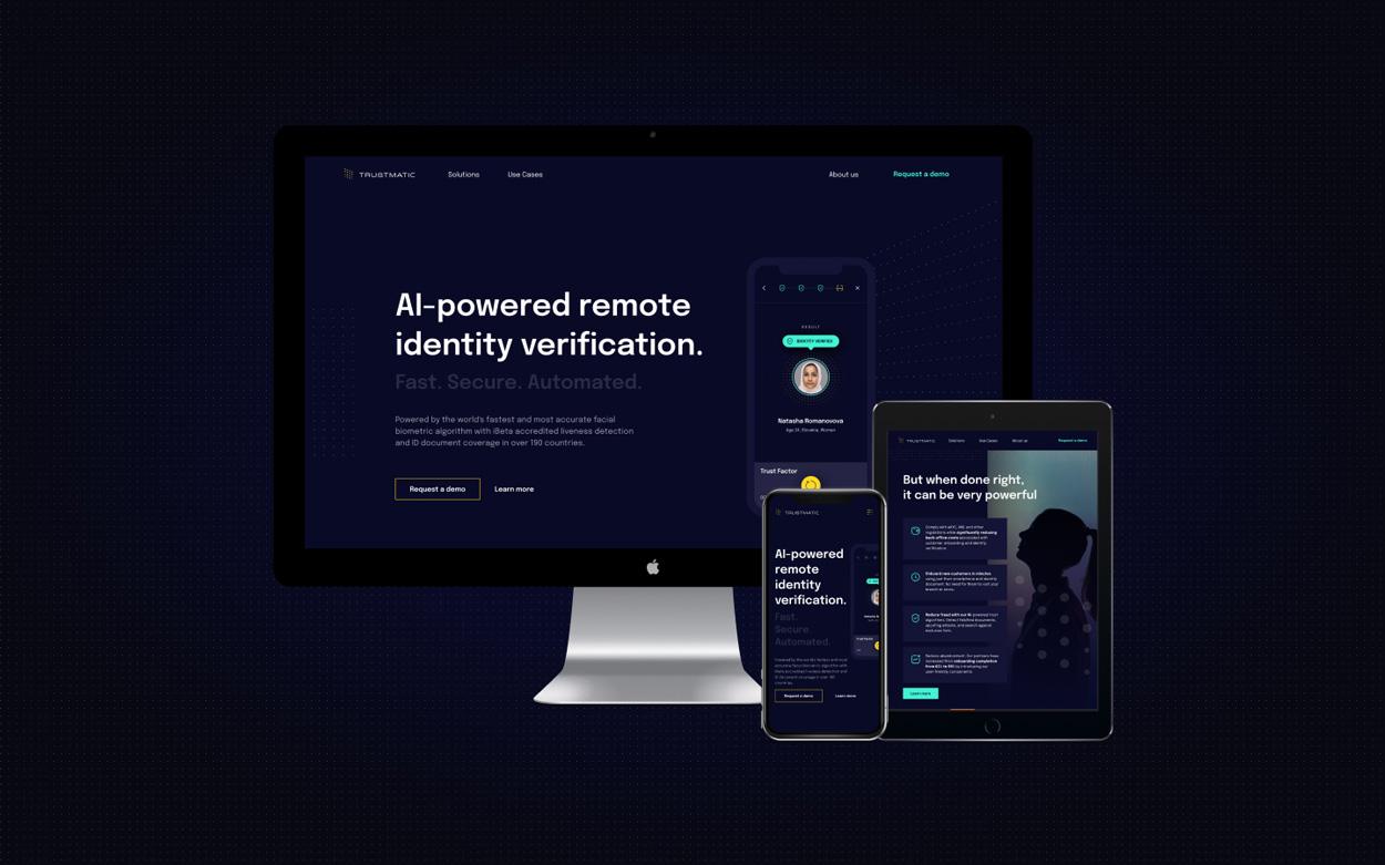 User interface of Trustmatic website in multiple platforms