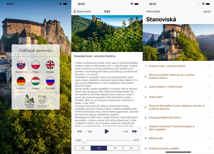 Preview UI and main functional mobile applications Orava Castle