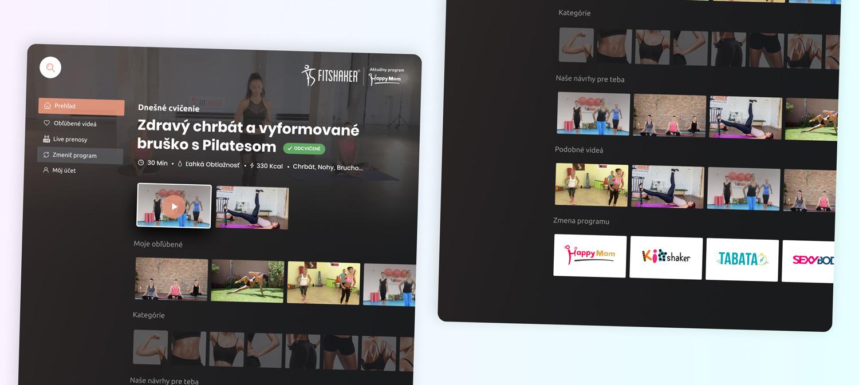 Užívateľské prostredie novej TV aplikácie pre FitShaker