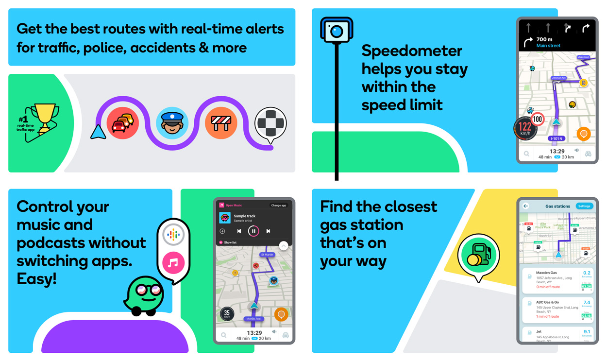 A preview of the functionality of Waze, a popular android app among drivers
