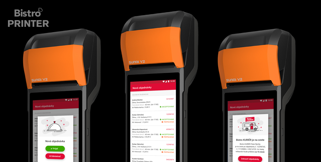 Bistro Printer Android app on Sunmi V2 portable touchscreen device