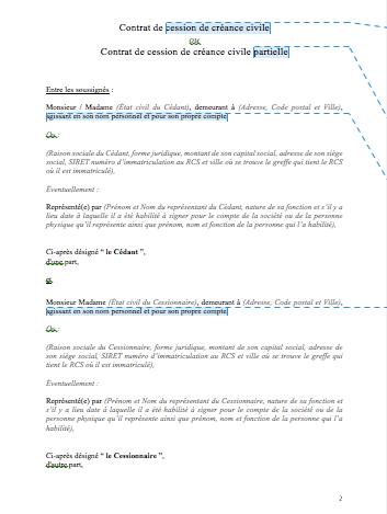 Contrat de cession de créance civile