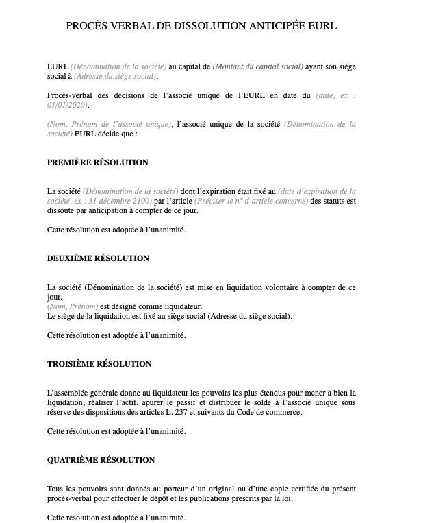 Modèle de procès-verbal de dissolution d'une EURL