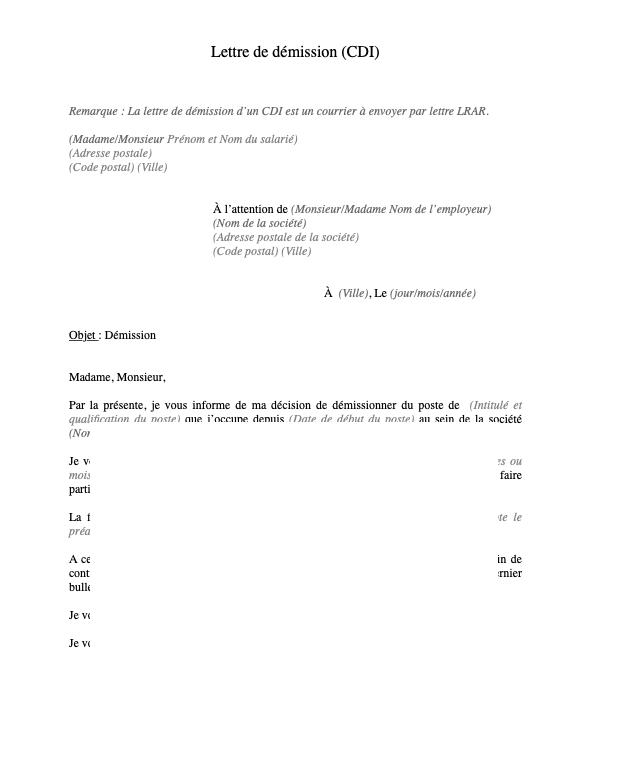 Lettre De Demission Cdi Document Et Modele A Telecharger