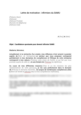 Lettre motivation infirmier samu