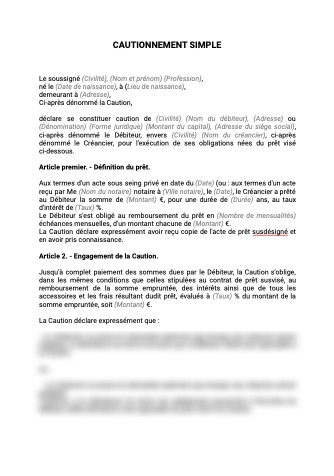 Contrat de cautionnnement simple
