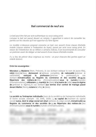 Bail commercial classique