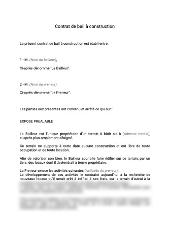 Contrat de bail à construction