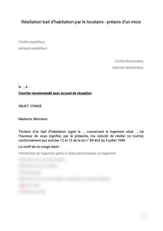 Resiliation Bail D Habitation Par Le Locataire Avec Preavis 1 Mois Document Et Modele A Telecharger