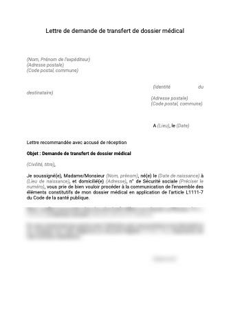 Transfert de dossier médical