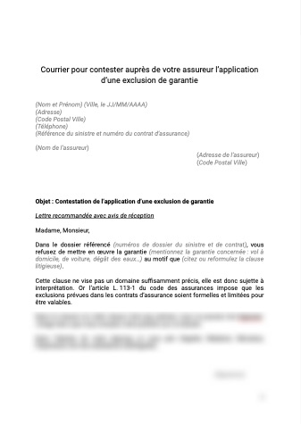 Contestation de l'application d'une exclusion de garantie