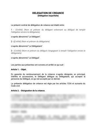 Contrat de délégation de créance délégation imparfaite