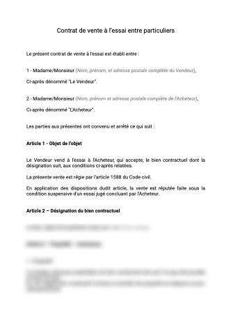 Contrat de vente à l'essai entre particuliers