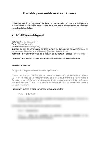 Contrat garantie service après-vente