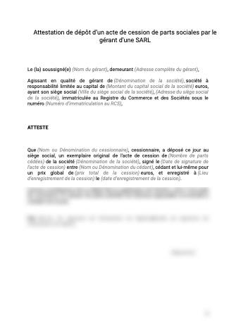 Attestation gérant SARL dépôt acte cession parts