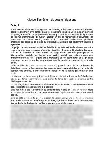 Clause d'agrément contrat cession