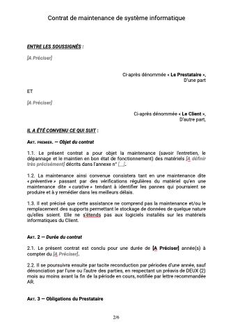 Contrat De Maintenance Informatique Document Et Modele A Telecharger