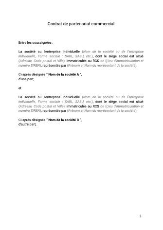 Contrat de partenariat commercial