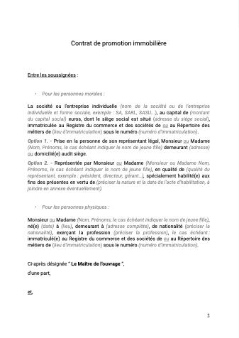 Contrat de promotion immobilière secteur libre