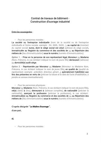 Contrat de travaux de batiment construction d'ouvrage industriel
