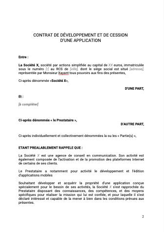 Contrat développement et cession d'une application mobile