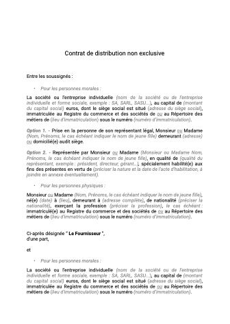 Contrat de distribution non exclusive