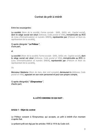 Contrat prêt intérêt