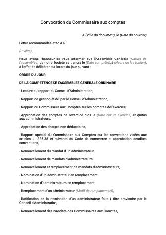 Convocation commissaire aux comptes