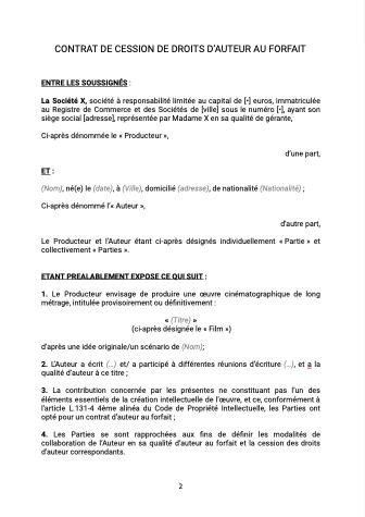 Contrat de cession de droits d'auteur au forfait