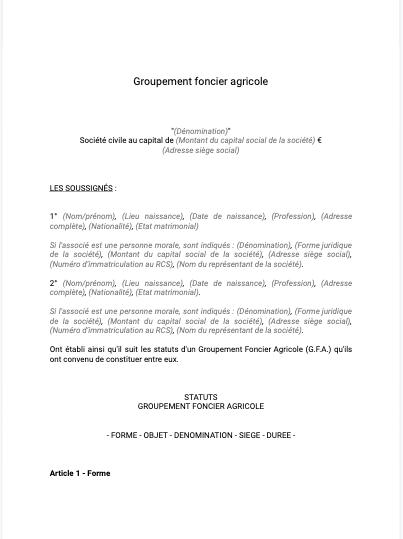 Statuts de groupement foncier agricole