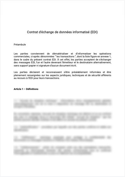 Contrat d'échange de données informatisée (EDI)