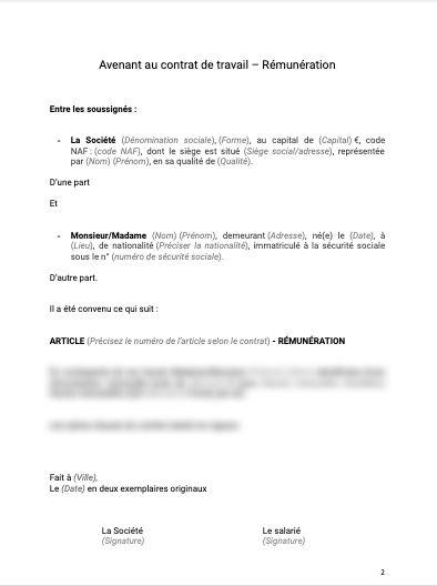 Avenant au contrat de travail modification de la rémunération