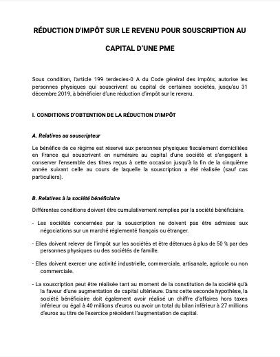 Réduction d'impôts souscription capital PME
