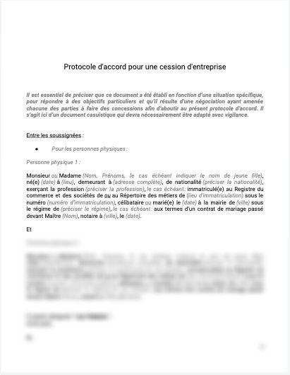 Protocole d'accord cession entreprise