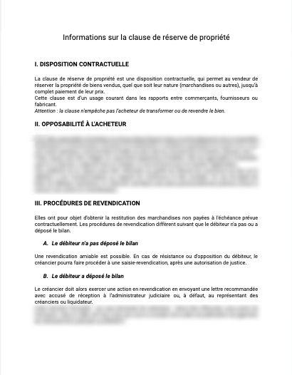 Information réserve de propriété
