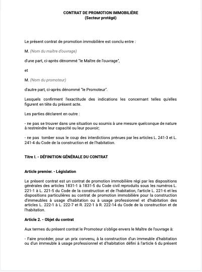 Contrat de promotion immobiliere secteur protégé